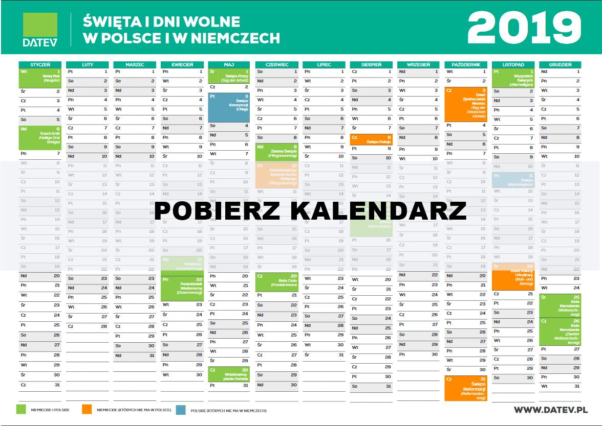 kalendarz Świąt i dni wolnych w Polsce i w Niemczech do pobrania